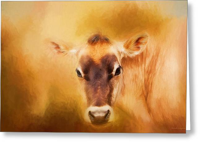 Jersey Cow Farm Art Greeting Card by Michelle Wrighton