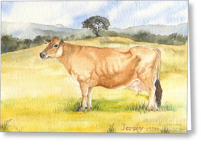 Greeting Card featuring the painting Jersey Cow by Sandra Phryce-Jones