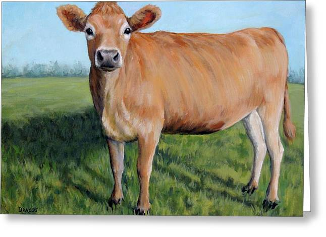 Jersey Cow Standing In Field Greeting Card