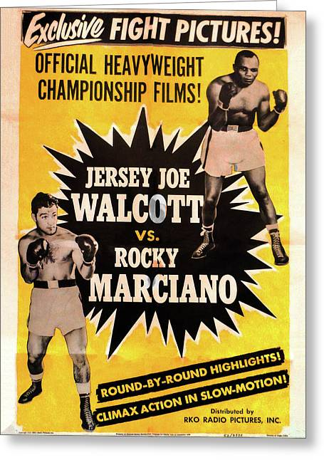 Jersey Joe Walcott Vs Rocky Marciano Greeting Card by Bill Cannon