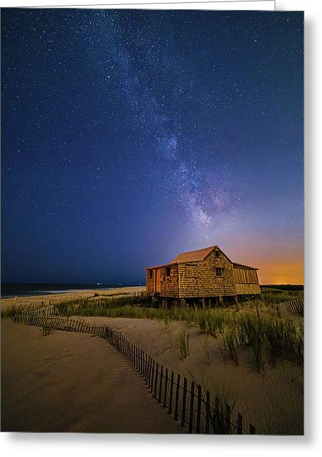 Jersey Shore Setting Moon  And Milky Way Greeting Card