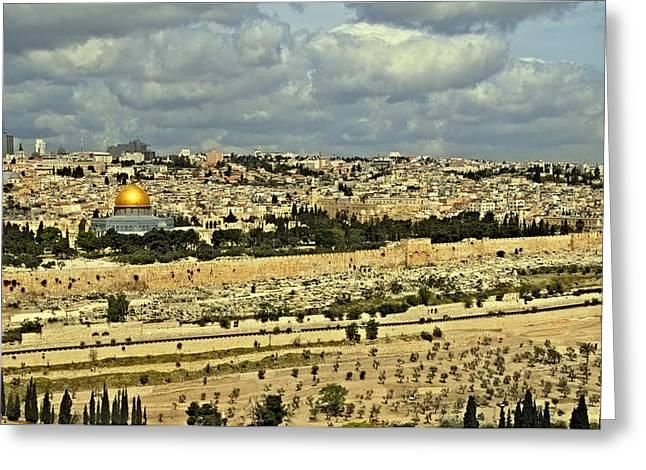 Jerusalem Awaits Her King II Greeting Card by Deb Cohen