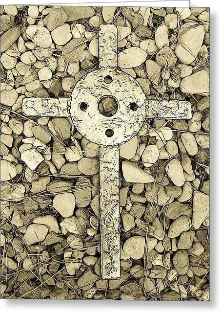 Jerusalem Cross In Sepia Tone Greeting Card by Deborah Montana