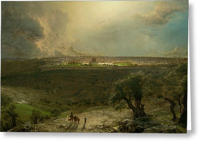 Jerusalem From The Mount Of Olives Greeting Card by Frederic Edwin Church