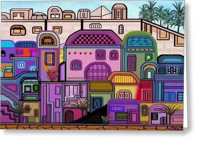 Jerusalem Tapestry Greeting Card by Sher Magins