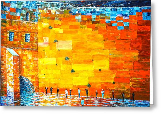 Jerusalem Wailing Wall Original Acrylic Palette Knife Painting Greeting Card