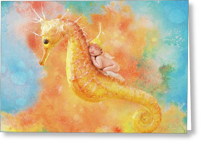 Jessabella Riding A Seahorse Greeting Card