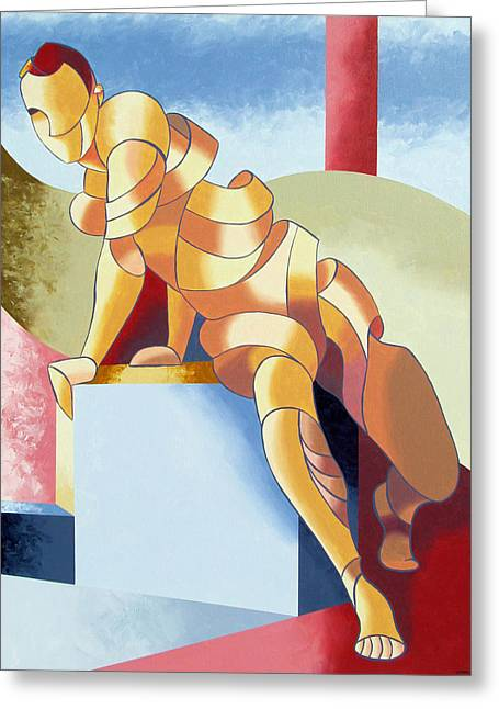 Jesse - Abstract Acrylic Figurative Painting Greeting Card by Mark Webster
