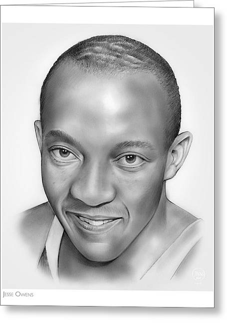Jesse Owens Greeting Card by Greg Joens