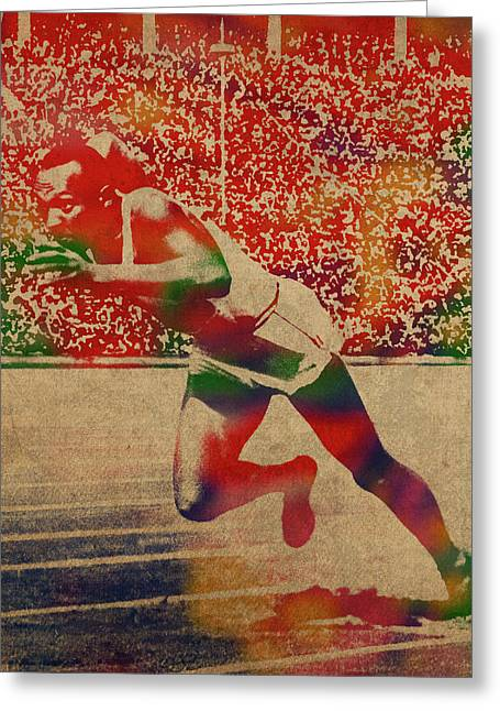 Jesse Owens Watercolor Portrait Greeting Card