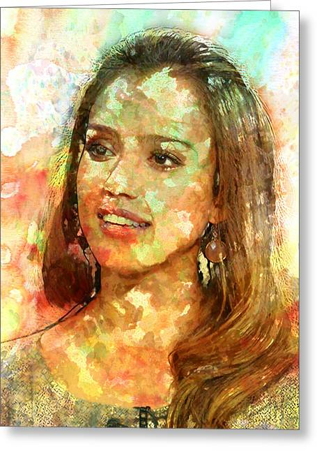 Jessica Alba Greeting Card by Elena Kosvincheva