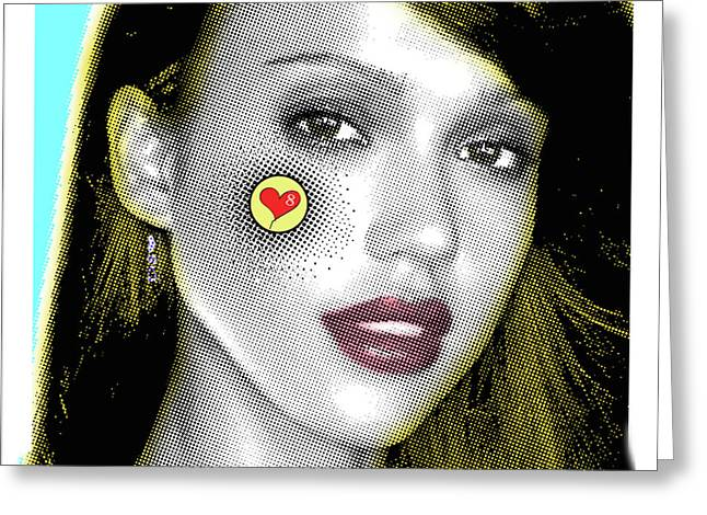 Jessica Alba Pop Art, Portrait, Contemporary Art On Canvas, Famous Celebrities Greeting Card