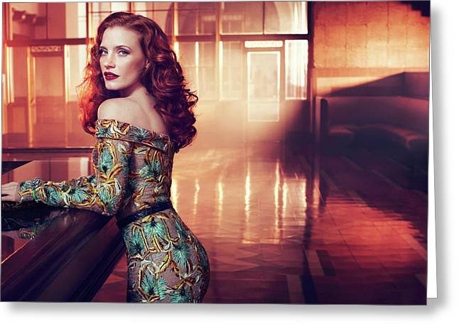 Jessica Chastain Greeting Card by F S