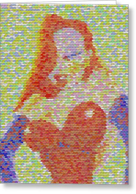Greeting Card featuring the mixed media Jessica Rabbit Pez Mosaic by Paul Van Scott