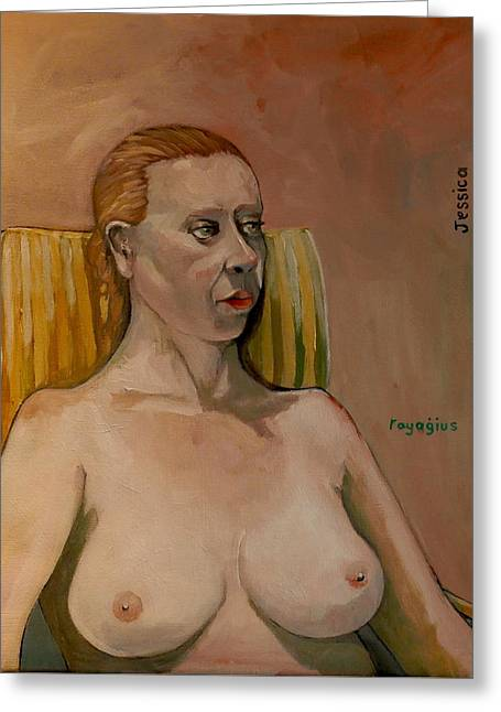 Greeting Card featuring the painting Jessica S by Ray Agius
