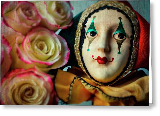 Jester And Roses Greeting Card by Garry Gay