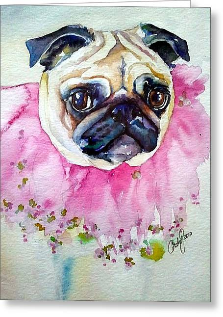 Jester Pug Greeting Card by Christy  Freeman