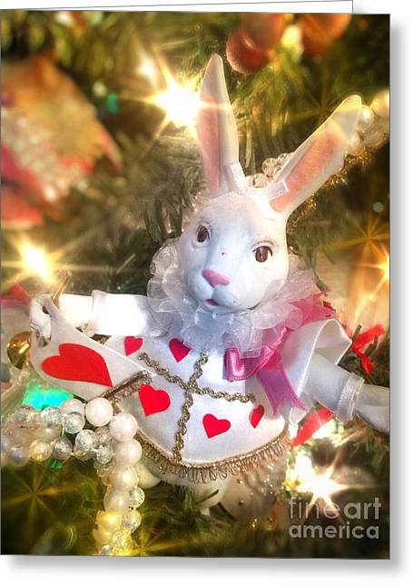 Jester White Rabbit Christmas Ornament Greeting Card by Amy Cicconi