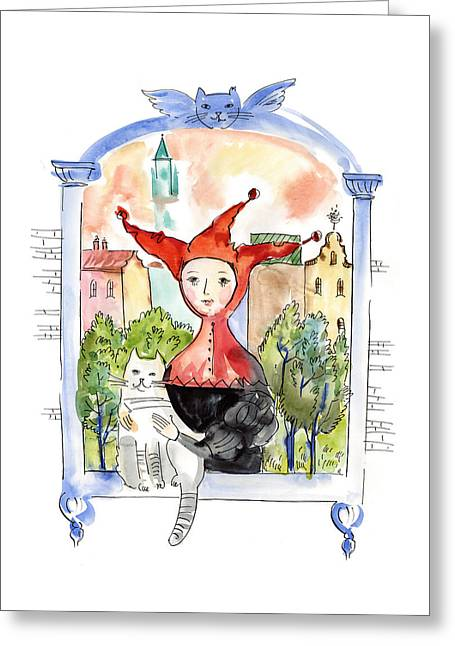Jester With Cat In Window Greeting Card by Dina-Art