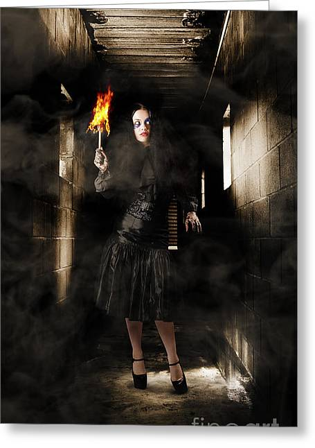 Jester Woman In Fear Walking Haunted Castle Halls Greeting Card by Jorgo Photography - Wall Art Gallery