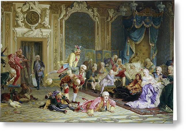Jesters In The Court Of The Empress Anna Ivanovna Greeting Card by MotionAge Designs