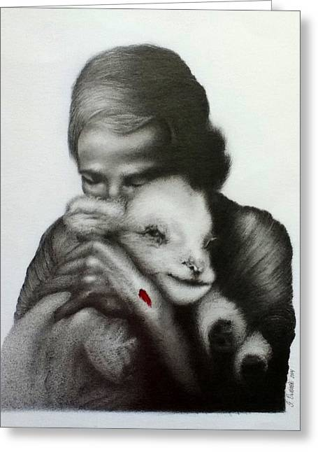 Jesus And The Lamb Greeting Card by Stephen Owsinski