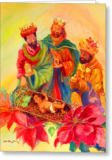 Tarjetas Greeting Cards - Jesus and the Wise Men Greeting Card by Estela Robles