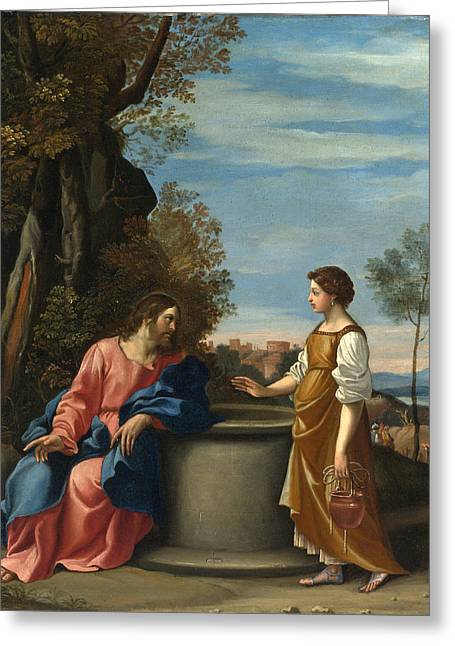 Jesus And The Woman From Samaria Greeting Card