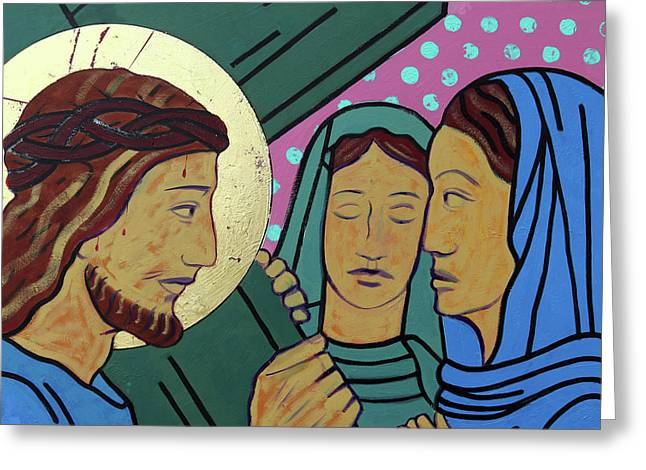 Jesus And The Women Of Jerusalem Greeting Card by Sara Hayward