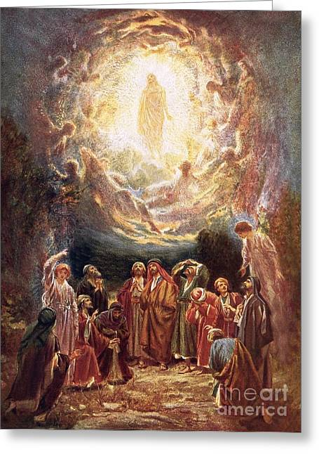 Christian Paintings Greeting Cards - Jesus ascending into heaven Greeting Card by William Brassey Hole