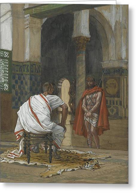 Interviewed Greeting Cards - Jesus Before Pilate Greeting Card by Tissot