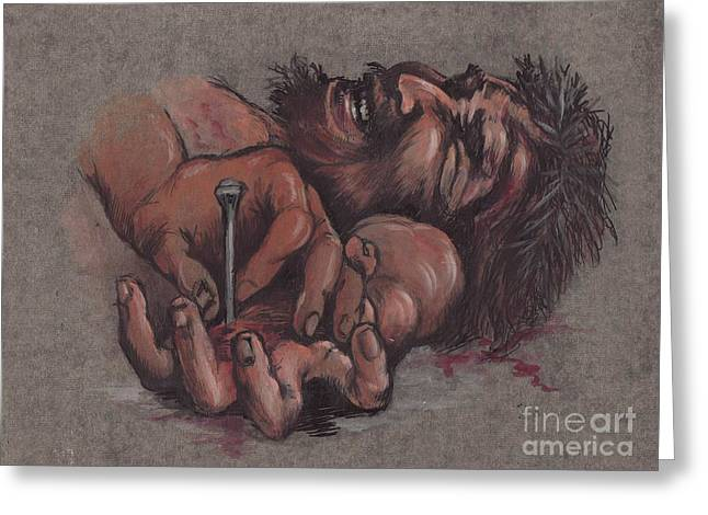 Jesus Being Crucified Greeting Card by Morgan Fitzsimons