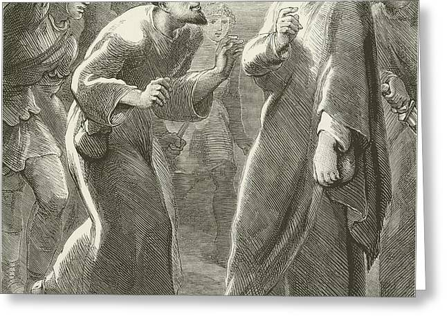 Jesus Betrayed By Judas Greeting Card