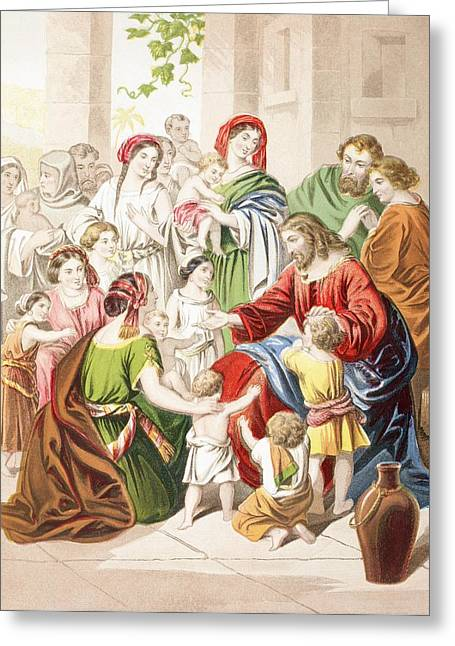 Jesus Blessing Little Children. Suffer Greeting Card by Vintage Design Pics