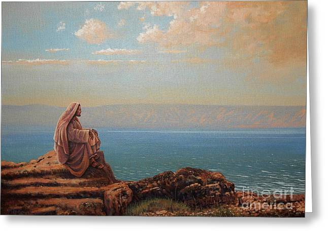 Jesus By The Sea Greeting Card by Michael Nowak