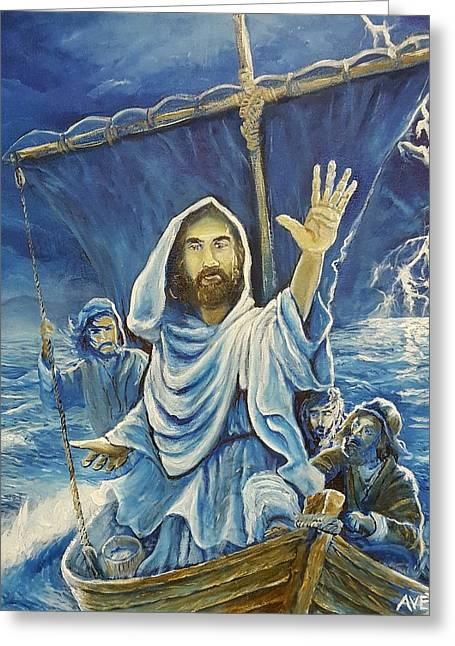 Jesus Calms The Sea Greeting Card