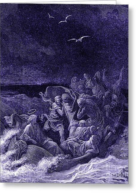 Jesus Calms The Storm By G Dore Greeting Card