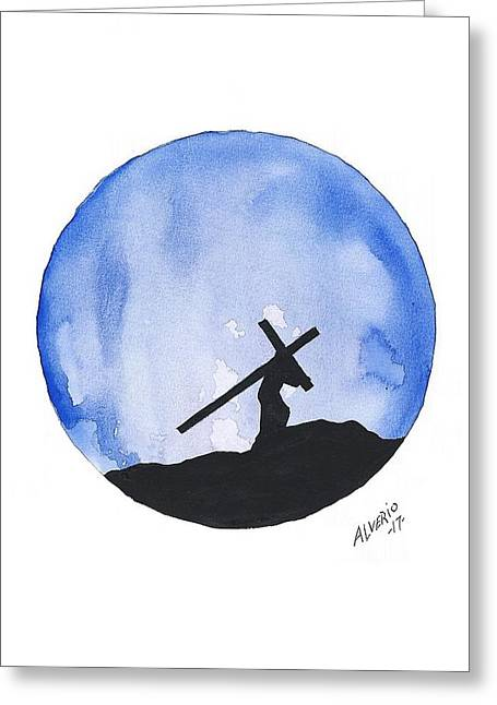 Jesus Carried His Own Cross Greeting Card by Edwin Alverio