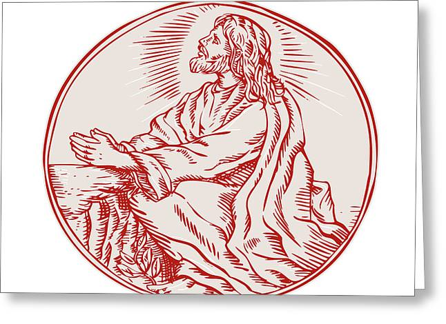Jesus Christ Agony In The Garden Etching Greeting Card by Aloysius Patrimonio