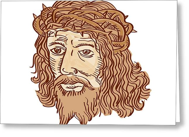 Jesus Christ Face Crown Thorns Etching Greeting Card