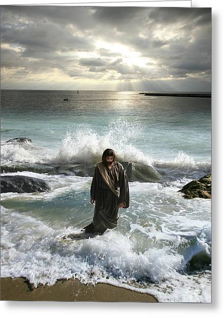 Jesus Christ- I Have Come As A Light Into The World Greeting Card
