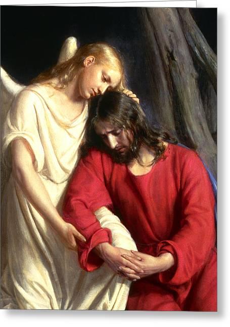 Jesus Christ In Gethsemane Detail Greeting Card by Carl Bloch