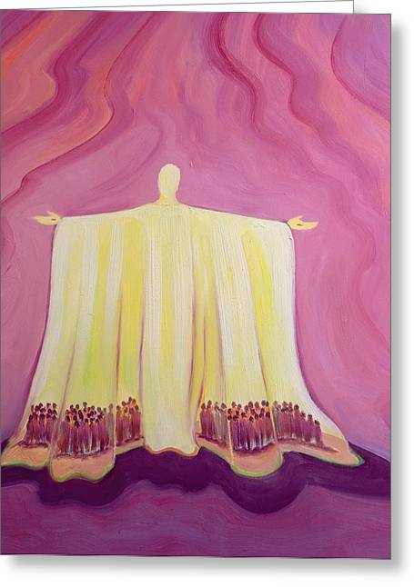 Outstretched Arm Paintings Greeting Cards - Jesus Christ is like a tent which shelters us in lifes desert Greeting Card by Elizabeth Wang