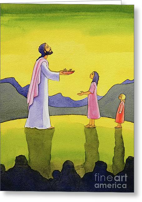 Jesus Christ Performs The Miracle Of The Loaves And The Fish Greeting Card