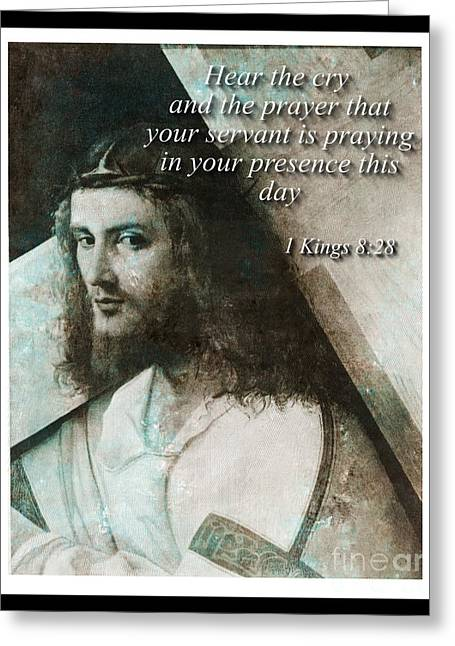 Jesus Christ With Cross And Bible Verse Greeting Card by T Anderson