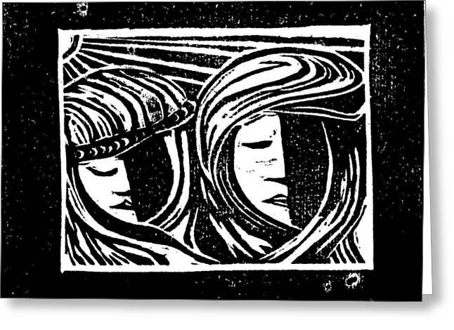 Jesus Comforts The Women Greeting Card by Lars Lindgren