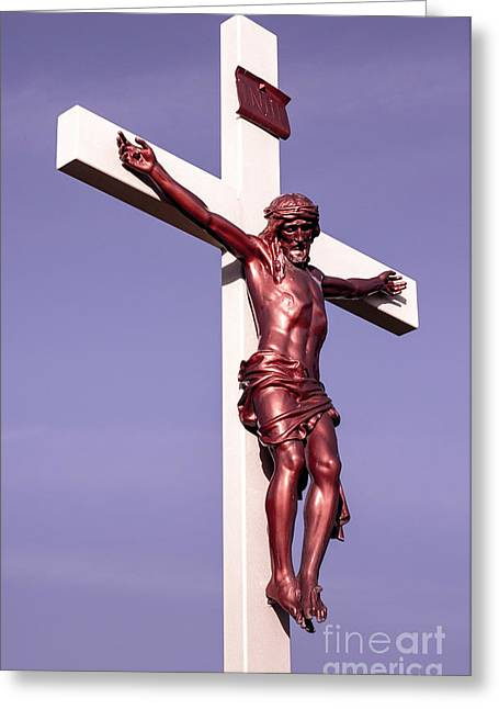 Jesus Crucifix Against The Sky 2 Greeting Card by Gary Whitton