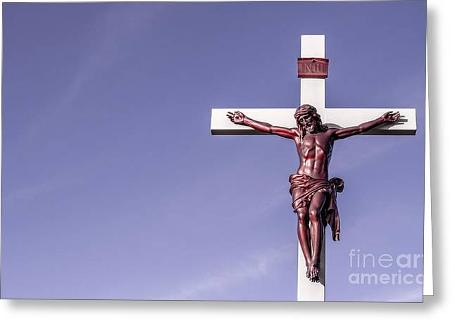 Jesus Crucifix Against The Sky Greeting Card by Gary Whitton