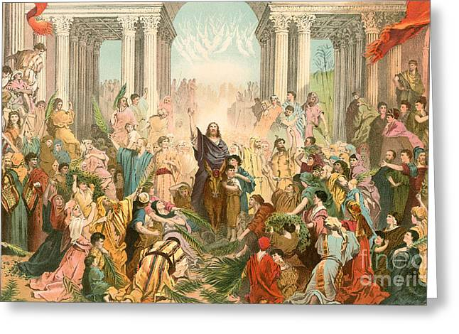 Jesus Entering Jerusalem Greeting Card by Gustave Dore
