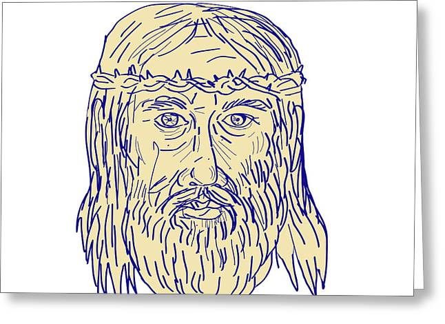 Jesus Face Crown Of Thorns Drawing Greeting Card